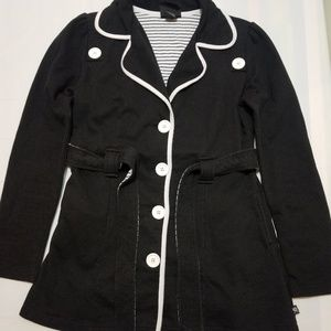 L.A. Kitty Black White Women's Button Front Coat M